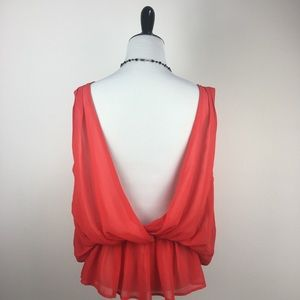 Timeless | Fiery Red-Orange Crepe Date Top | M